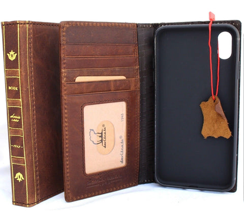 Genuine Leather Case for iPhone XS book bible wallet closure cover Cards slots Slim vintage Dark Jafo brown Daviscase