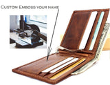 GENUINE  Leather wallet credit card handmade Custom emboss name gift stamp slim Personalized Daviscase