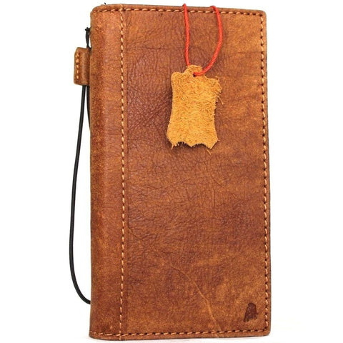 Genuine leather case for iPhone 8 plus book wallet cover credit holder slots luxury vintage bright brown slim davicase