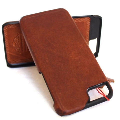 genuine vintage leather Case fit for iphone 7 plus book slim holder cover Luxury
