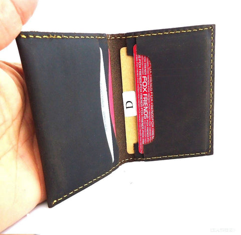 Men's Full Leather Card Case 4 Slots 2 Slip Pockets Bifold Back Pocket Size Slim mini wallet brown daviscase
