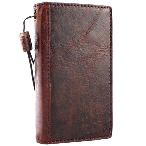 Genuine vintage leather Case for LG G8 book  wallet wireless charger cover slim brown cards slots handmade daviscase 8