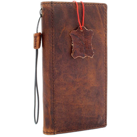 Genuine real Leather case for Samsung Galaxy Note 8 book wallet cover soft vintage brown cards slots slim daviscase wireless charging