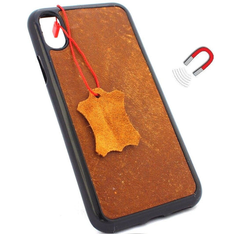 Genuine Leather Case for iPhone XS book wallet magnetic slim cover vintage bright brown Daviscase Art