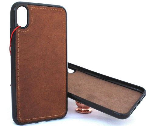 Genuine real leather for apple iPhone XS case cover soft holder prime retro sift rubber slim magnetic car Jafo