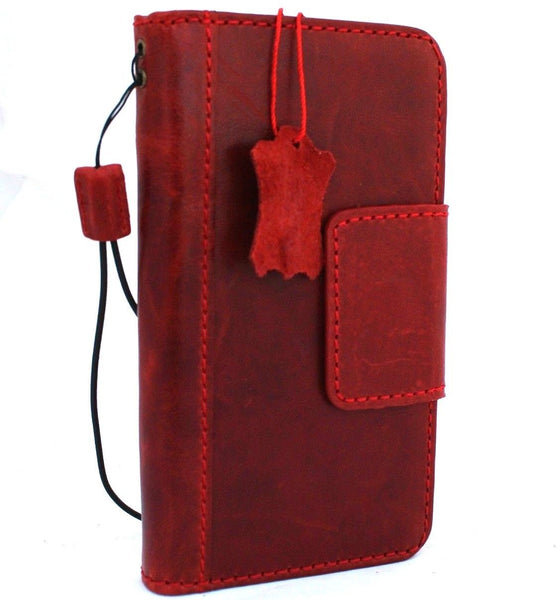 Genuine oiled leather for apple iPhone XR case cover wallet credit soft holder magnetic Red wine book prime retro slim Jafo