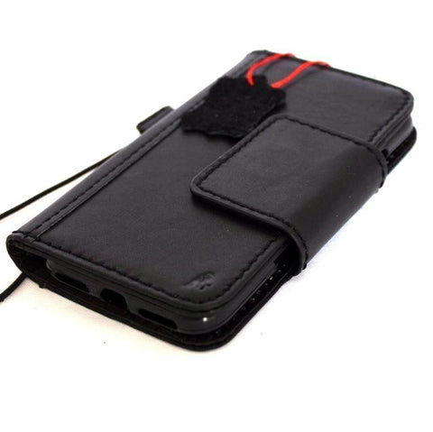 Genuine Natural Black Leather Case for iPhone SE 2 2020 Cover Book Wallet Cards Magnetic Soft Davis Classic Art Wireless Charging