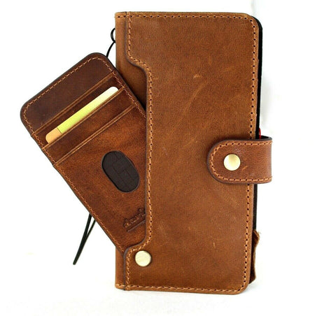 Genuine Tan Leather Case for Samsung Galaxy S21 Ultra 5G book wallet handmade rubber holder cover wireless charger Business Top Grain Daviscase