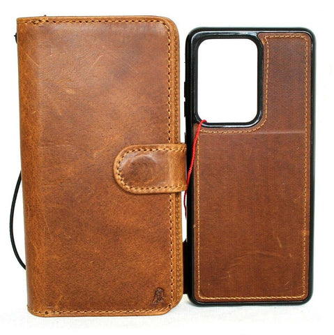 Genuine Tanned Leather Case for Samsung Galaxy Note 20 Ultra book wallet Removable cover Cards window Jafo magnetic slim Daviscase