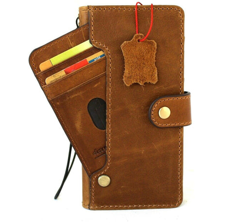 Genuine Vintage Leather case for Samsung Galaxy Note 10 Plus book wallet soft holder Card slots Rubber stand ID Window Wireless charging Tan