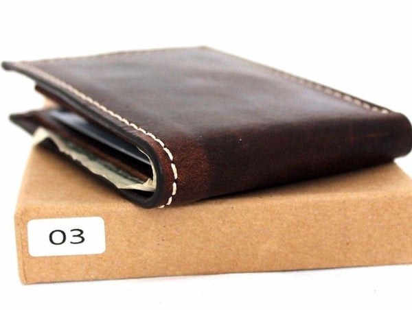 Men's natural Leather wallet 4 Credit Card Slots 1 Bill Compartment Bifold Slim brown daviscase