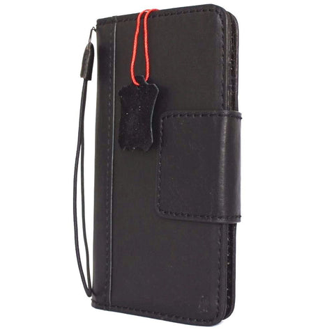 Genuine Black Leather case for iPhone 8 Plus magnetic cover wallet credit holder book luxury Davis
