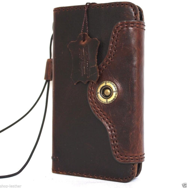 Genuine REAL natural full leather iPhone 7 case cover wallet credit holder book luxury
