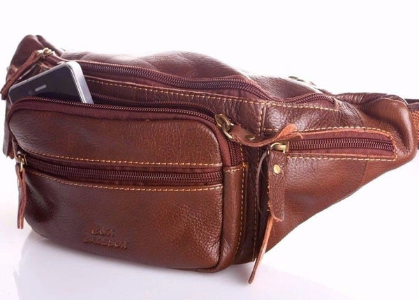 Genuine Leather waist pouch Bag for man Pack Accessories Phone Wallet Pocket vintage brown zipper daviscase
