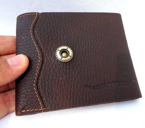 Men's Natural Soft Leather Wallet 3 Card Slots 1 id Window 3 Bill Compartments brown