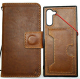 Genuine full tanned leather case for samsung galaxy note 10 book bible wallet cover Window rubber Handmade slim stand Removable soft Wireless charging