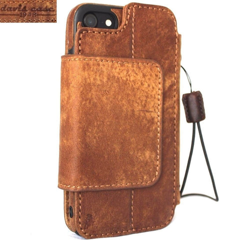 genuine leather Case for iphone 7 wallet book cover magnetic Removable hand made vintag brown daviscase