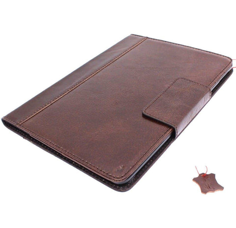 Genuine full Leather case Bag for Apple iPad 9.7 (2018) hard cover luxury rubber magnetic brown cards slots slim daviscase A1893 A1954
