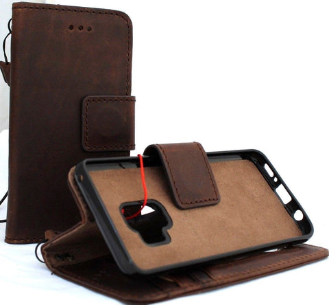 Genuine leather Case for Samsung Galaxy S9 book wallet cover Cards Removable magnetic window Jafo id vintage slim holder daviscase