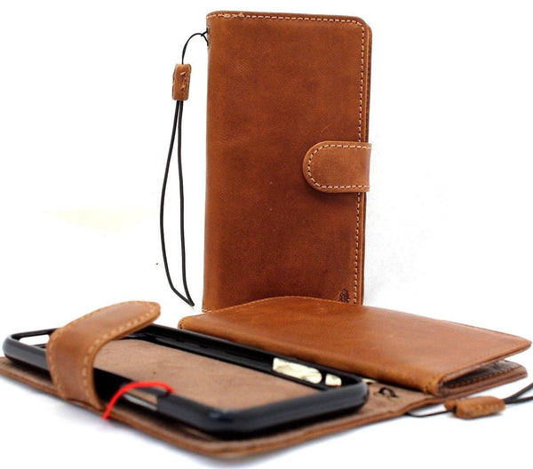 Genuine full leather Real Removable case for iphone 8 Detachable cover book wallet card id magnetic business slim soft holder daviscase