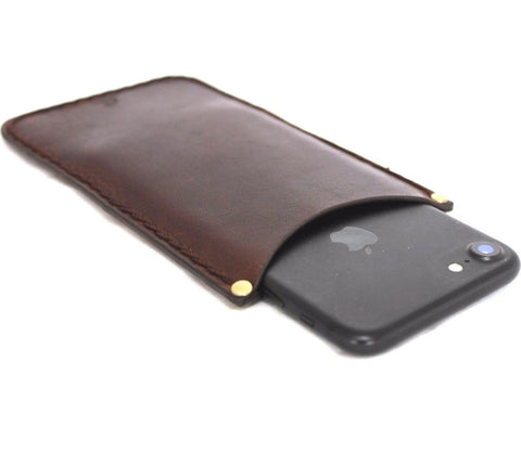 genuine leather Case for apple iphone 7 / 6 / 6s thin wallet cover slim Retro holder brown daviscase
