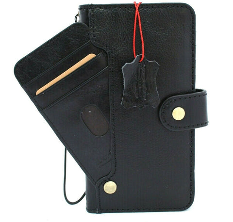 Genuine Black Leather Case For Apple iPhone 12 Pro Max Book Wallet Vintage Style ID Window Credit Card Slots Soft Cover Full Grain DavisCase