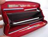 Genuine real leather woman purse tote wallet zipper Coins red credit cards Money