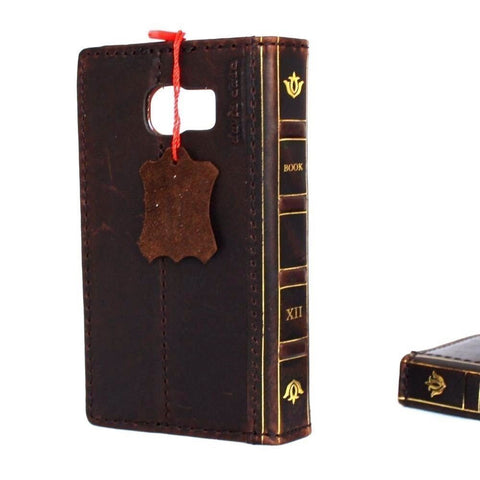 Genuine vintage leather Case for Samsung Galaxy S6 book wallet bible cover thin