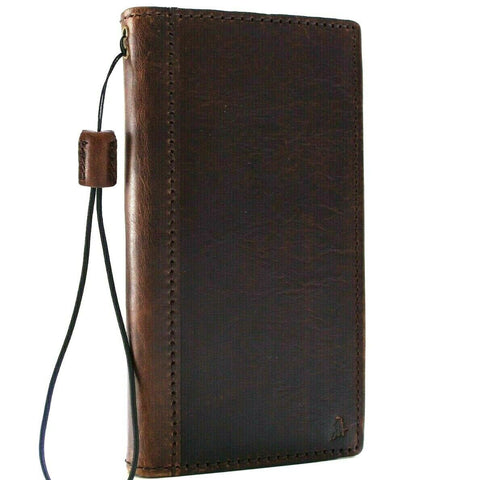 Genuine leather Case for LG V50 book wallet cover slim brown cards slots luxury premium handmade strap ruuber ID