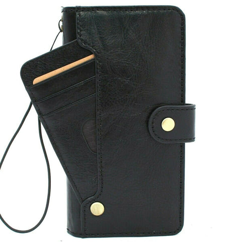 Genuine Black Leather Case for Samsung Galaxy Note 20 Ultra 5G book ID Window wallet handmade rubber holder cover Wireless charger Business DavisCase