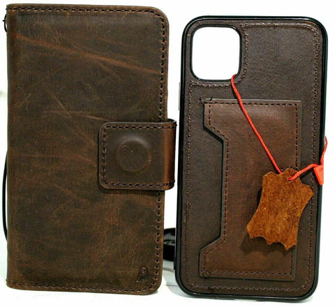 Genuine Natural Dark Leather case For Apple iPhone 11 Cover Wallet Credit cards ID window Holder Book Tan Removable Prime Holder Soft Wireless Charging DavisCase
