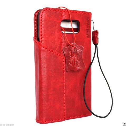 genuine vintage leather Case  for Samsung Galaxy note 5 book wallet luxury magnet cover red slim daviscase