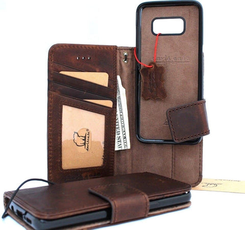 Genuine vintage leather case for samsung galaxy note 8 book Removable wallet magnetic closure cover cards slots detachable holder slim Jafo R