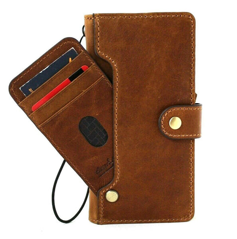Genuine Tan Leather Case for Samsung Galaxy Note 20 Ultra 5G book wallet handmade rubber credit cards holder cover wireless charger DavisCase