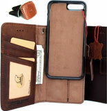 Genuine Leather Case for iPhone 8 PLUS book wallet cover Cards slots Slim vintage Removable detachable soft Luxury holder + Magnetic Car holder Daviscase