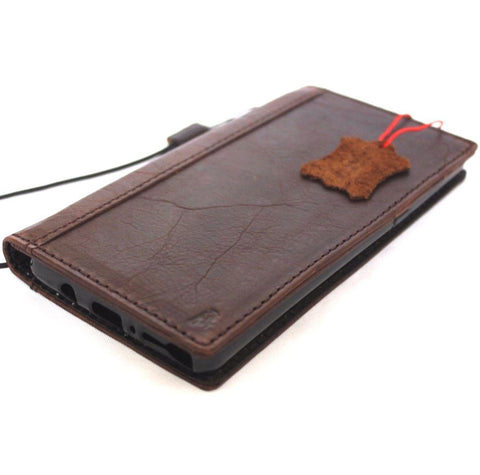 Genuine vintage leather case for Samsung Galaxy Note 8 book wallet cover cards slots brown slim daviscase custom emboss stamping