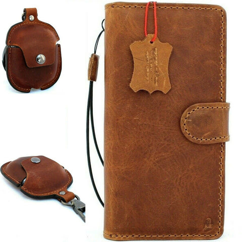 Genuine full leather case for Apple iPhone 11 Pro Max Cover Wallet Credit Holder Magnetic Book Tan Removable Detachable Holder Soft + Airpods 2