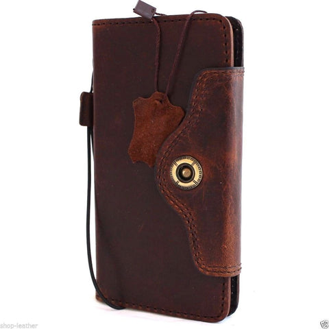 Genuine Real Leather Case for Huawei Nexus 6P Book Wallet closure cover Handmade Retro Luxury brown IL