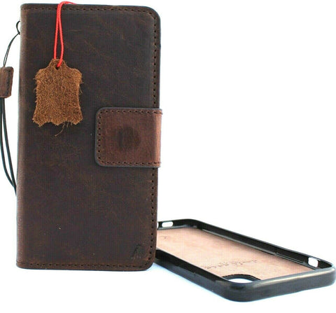 Genuine Real Leather case for Apple iPhone 11 cover wallet credit holder magnetic book tan Removable detachable prime holder slim Jafo 48