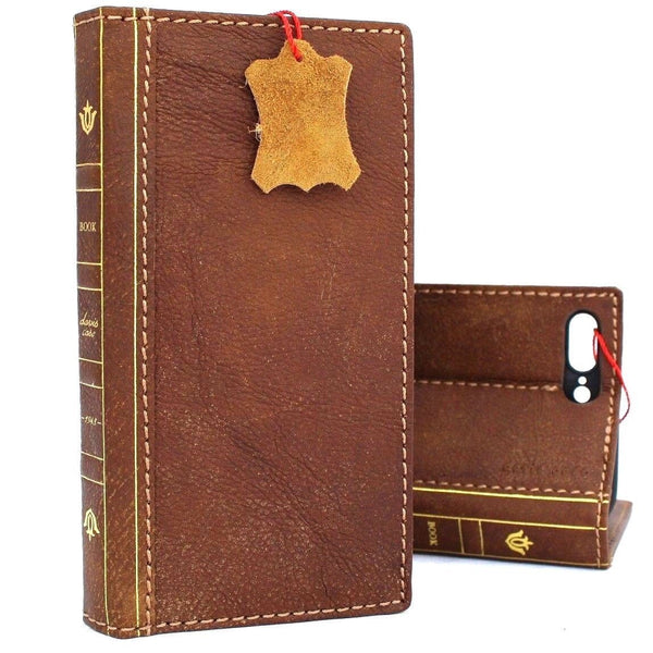 Genuine Soft leather Case for iPhone 8 Plus Bible Design book wallet cover credit holder slots luxury vintage bright brown Stand slim Jafo 1948