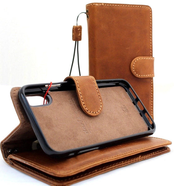 the best attitude 6e3fc 80bca Genuine real leather for apple iPhone XR case cover wallet credit holder  magnetic book tan Removable detachable luxury Rubber holder slim soft Jafo