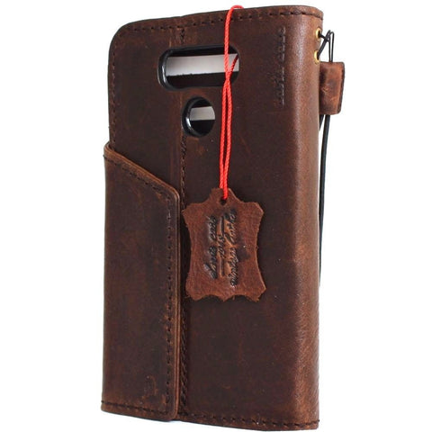 Genuine real leather case for LG G6 book walle cover handmade luxury magnetic 6 brown
