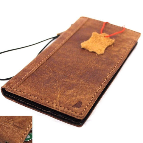 Genuine real leather Case for apple iphone 5 book wallet cover slim hand made cards slots vintage brown new daviscase
