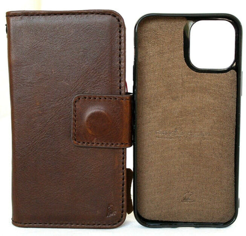 Genuine Dark Leather Case For Apple iPhone 12 Book Wallet Vintage Design Credit Cards Slots Soft Cover Removable Magnetic Full Grain DavisCase