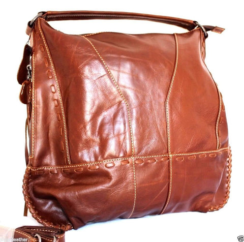 Genuine real leather woman bag brown purse tote lady retro Vintage style wallet
