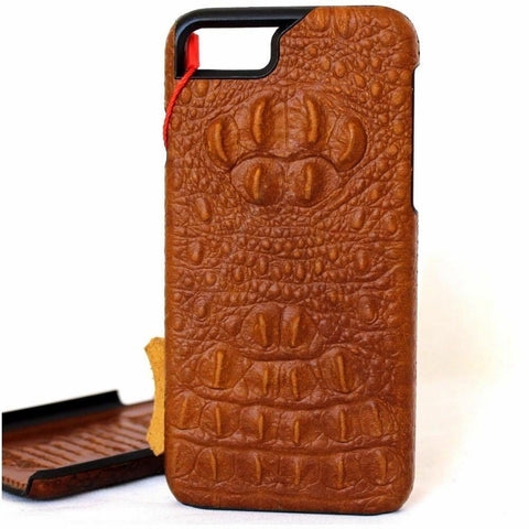 Genuine Natural Tanned Leather Case for Apple iPhone SE 2 Cover Crocodile Design Hard Slim Davis