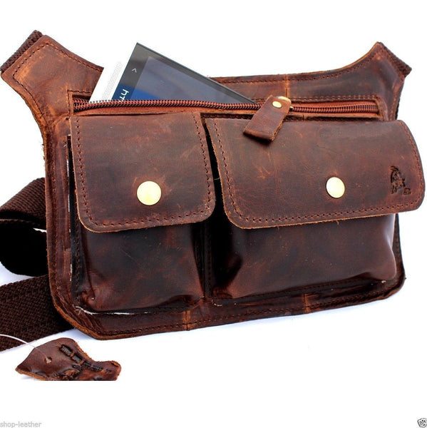 Genuine Leather Shoulder wallet Bag man womens Waist Pouch cross body brown au
