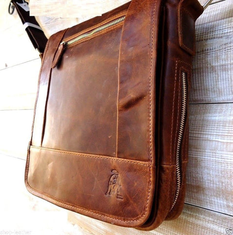 Genuine buffalo Leather Shoulder Bag Messenger Cross handbag vintage man tablet