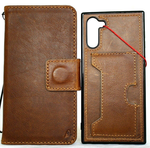 Genuine leather case for Samsung Galaxy Note 10 Plus book wallet soft Removable luxury slots rubber window detachable holder wireless charging