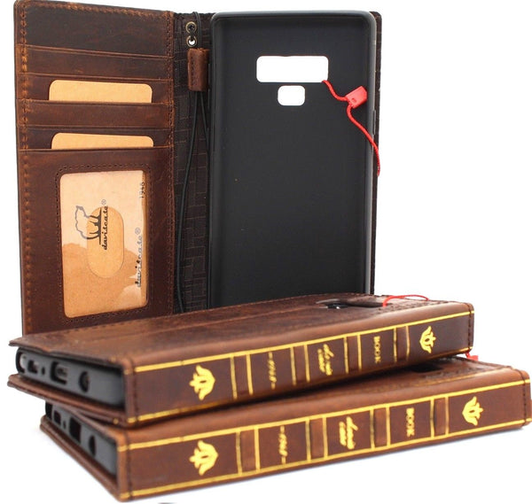 Genuine leather case for samsung galaxy note 9 book bible wallet cover dark vintage cards slots slim wireless charging daviscase